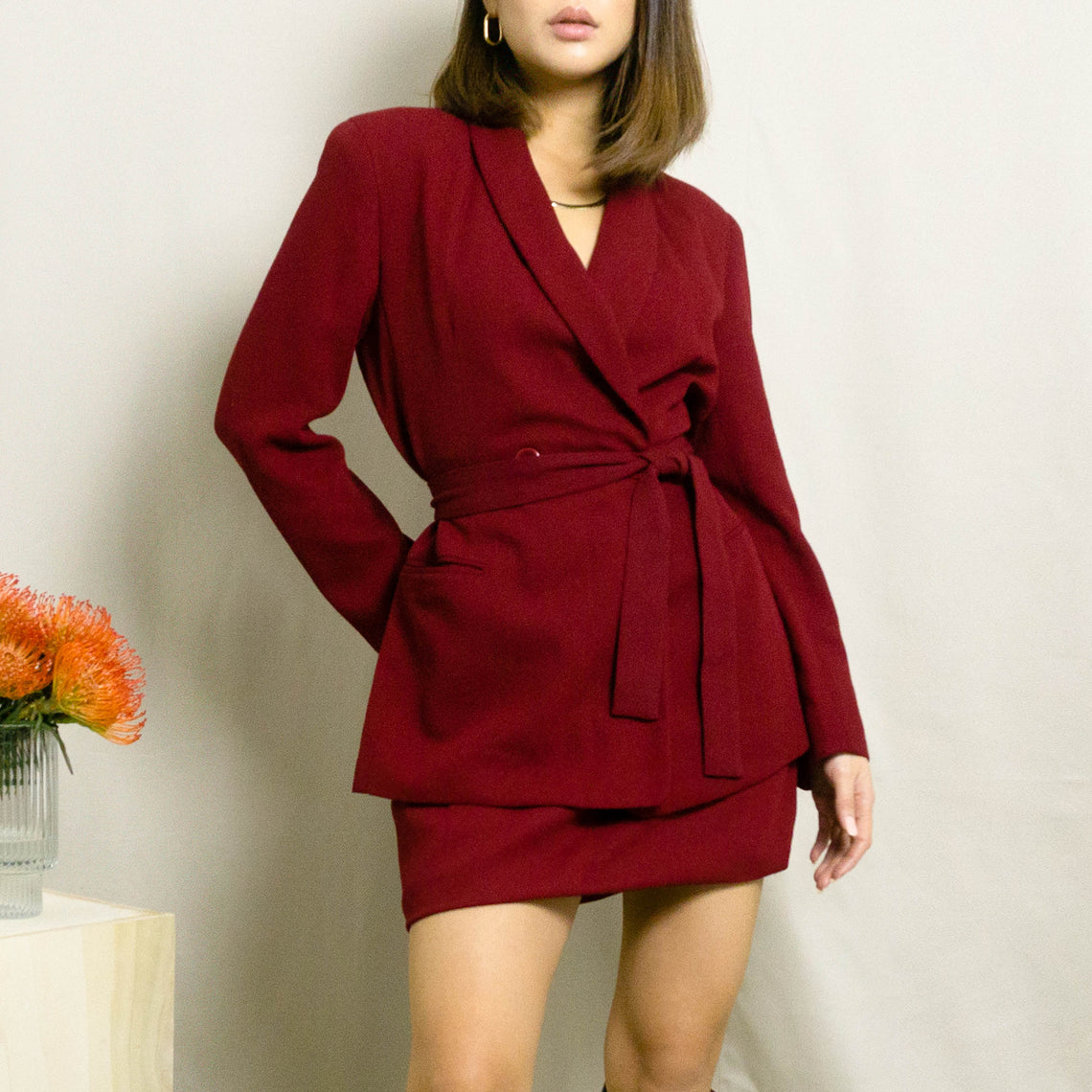 1990's SKIRT SUIT WITH WRAP BLAZER | RED | S/M
