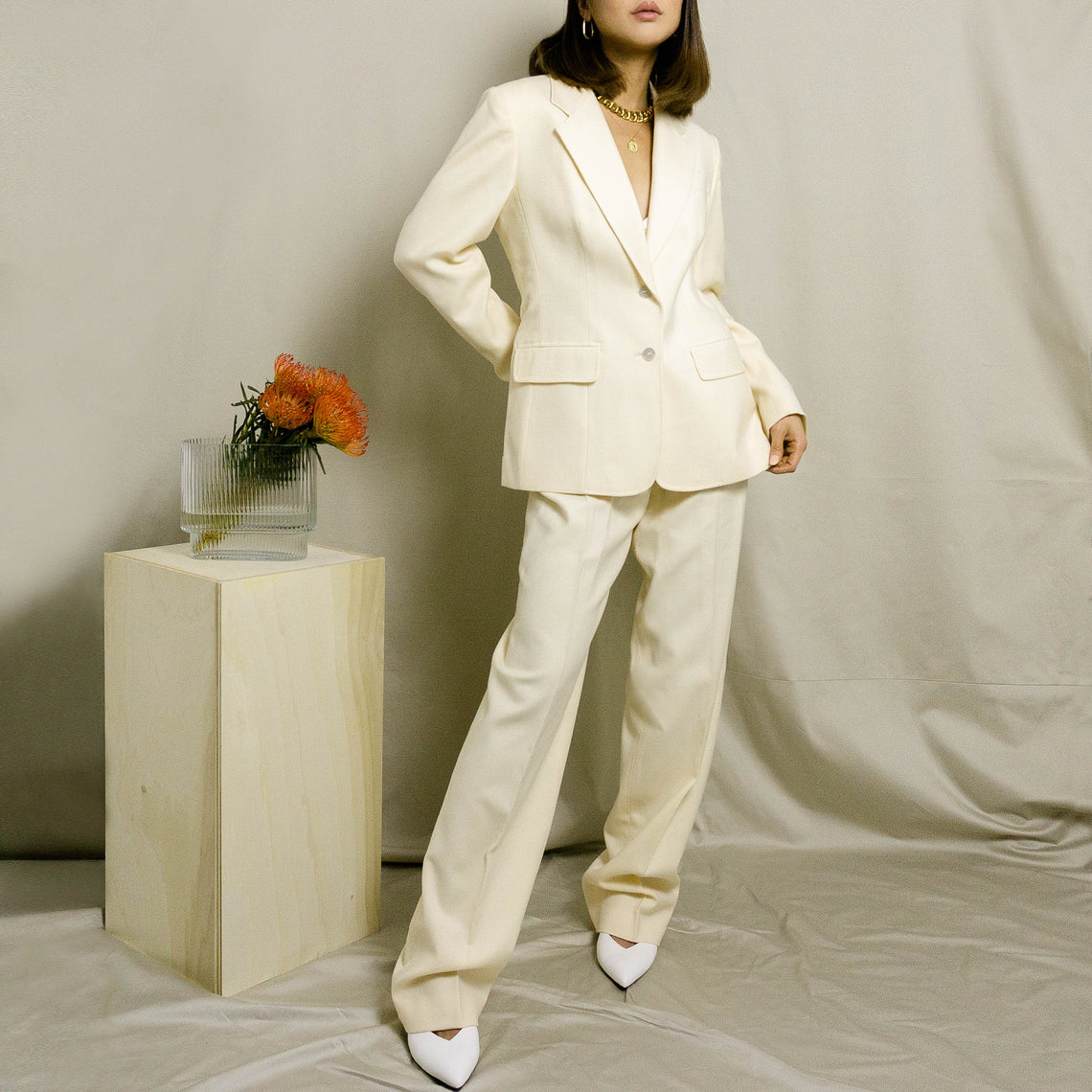1990's WOOL PANT SUIT | CREAM |
