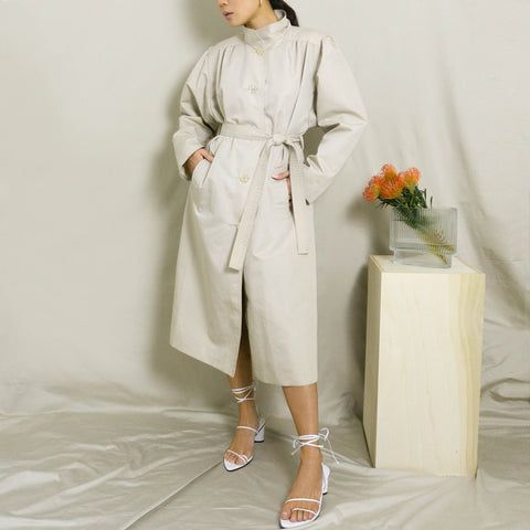 1980's BELTED, MANDARIN COLLARED TRENCH COAT | BONE WHITE | M/L