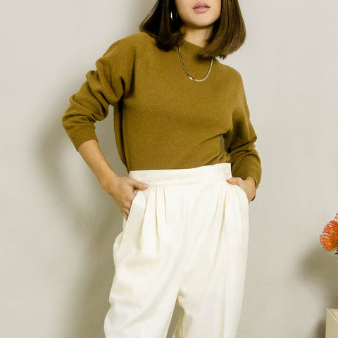1980's WOOL MOCK NECK SWEATER | BROWN | S