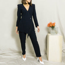 Load image into Gallery viewer, 1980's RARE CLAUDE MONTANA TASSEL-FRONT PANT SUIT | BLACK | S