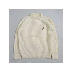 VINTAGE HAND-KNIT RIBBED NOVELTY TENNIS SWEATER | IVORY | S/M