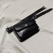 Load image into Gallery viewer, *REFURBISHED* 1980'S HANDMADE BLACK GENUINE LEATHER BELTED BAG | US 2-20