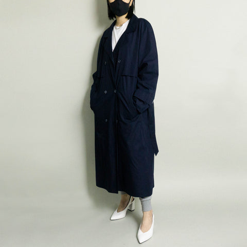 VINTAGE INSULATED TRENCH COAT | NAVY | S/M/L