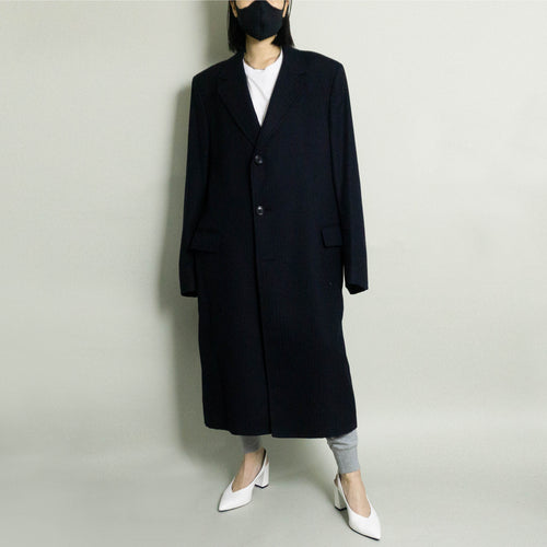VINTAGE YVES SAINT LAURENT HERRINGBONE TWILL OVERCOAT | DARK NAVY | S/M