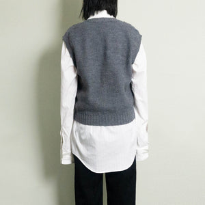 VINTAGE CABLE KNITTED SWEATER VEST | GRAY HEATHER | S/M/L