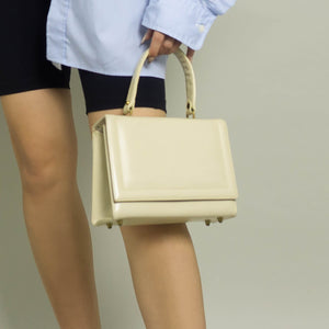 RARE VINTAGE LEATHER TOP HANDLE BAG | CREAM