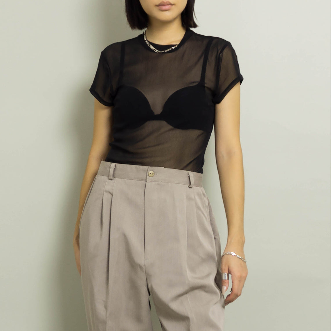 VINTAGE SHEER SHORT SLEEVE KNIT TOP | BLACK | S/M