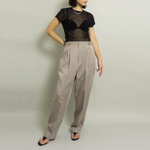 VINTAGE HIGH WAISTED PLEATED DRESS PANTS | LT GREIGE | US 10-12