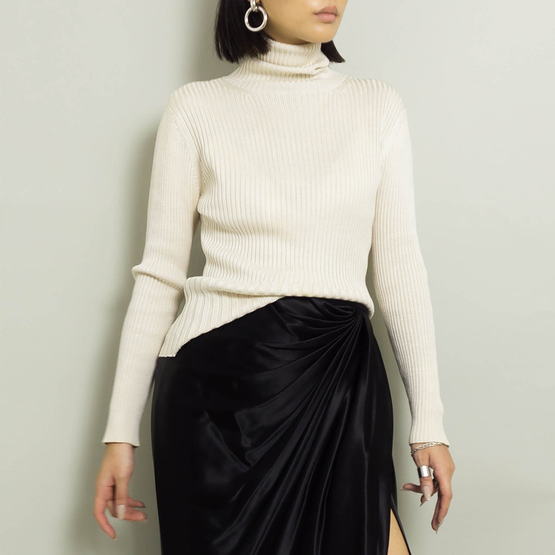 1990's SILK TURTLENECK | IVORY | S