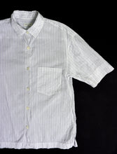 Load image into Gallery viewer, DRIES VAN NOTEN STRIPED SHORT SLEEVE SHIRT | WHITE/NAVY | S/M
