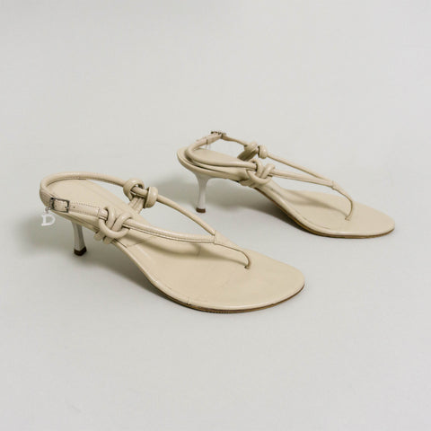 CHRISTIAN DIOR RARE KNOTTED SANDALS | CHAMPAGNE | US 7 1/2