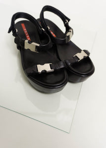 PRADA LEATHER PLATFORM SANDALS | BLACK | US 8