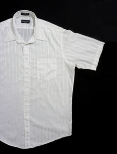VINTAGE CHRISTIAN DIOR STRIPED SHORT SLEEVE SHIRT | WHITE | S/M/L