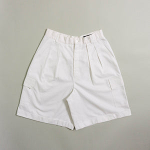 VINTAGE GIORGIO SANT' ANGELO HIGH-WAISTED CARGO SHORTS | WHITE | US 6