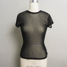 Load image into Gallery viewer, VINTAGE SHEER SHORT SLEEVE KNIT TOP | BLACK | S/M