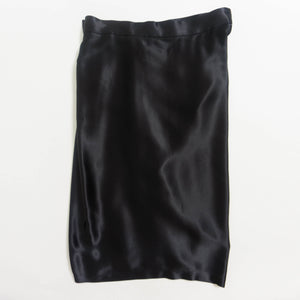 1980's YVES SAINT LAURENT SATIN DRAPED WRAP SKIRT | BLACK | US 2