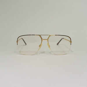 1980'S KARL LAGERFELD MINIMALIST OPTICAL AVIATOR GLASSES | GOLD