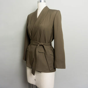 1980's LORD & TAYLOR WRAP BLAZER WITH SHAWL COLLAR | DARK OLIVE | S