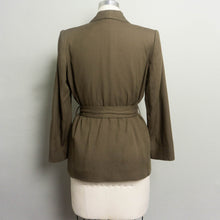 Load image into Gallery viewer, 1980's LORD & TAYLOR WRAP BLAZER WITH SHAWL COLLAR | DARK OLIVE | S