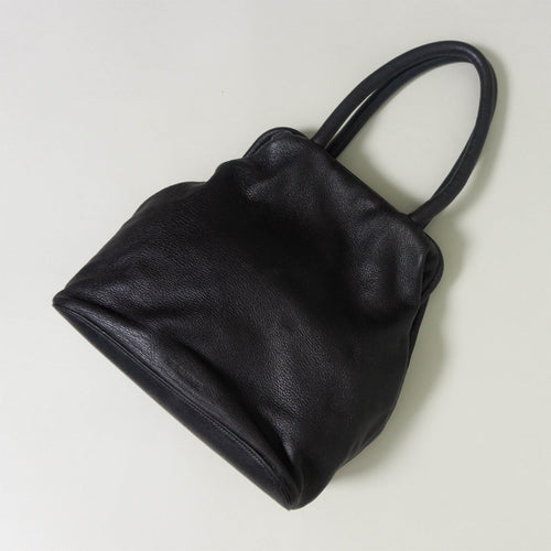 VINTAGE JIL SANDER SLOUCHY PEBBLED LEATHER BAG | BLACK