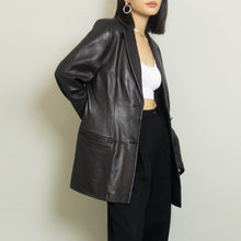 Load image into Gallery viewer, VINTAGE LORD & TAYLOR LEATHER BLAZER | BLACK | S / M