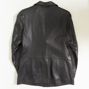 VINTAGE LORD & TAYLOR LEATHER BLAZER | BLACK | S / M