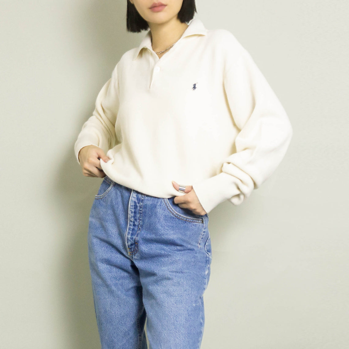 VINTAGE POLO RALPH LAUREN KNIT PULLOVER | IVORY | S