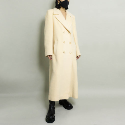 VINTAGE DOUBLE BREASTED WOOL OVERCOAT | CREAM | S/M/L