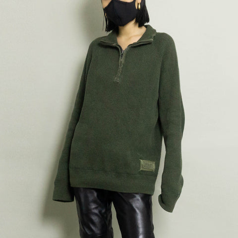 VINTAGE  RALPH LAUREN QUARTER ZIP RIBBED KNIT SWEATER | ARMY GREEN HEATHER | S/M