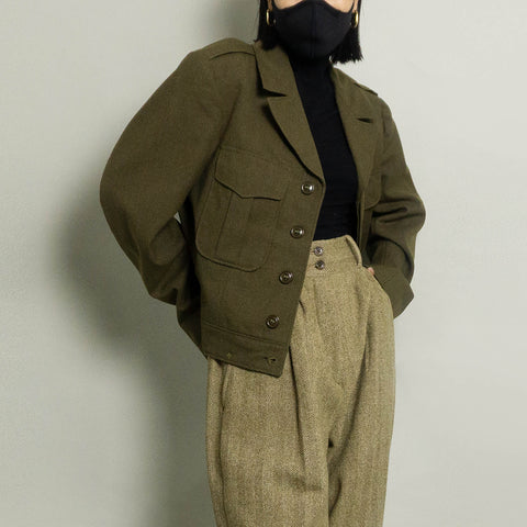 VINTAGE AUTHENTIC MILITARY JACKET | OLIVE HEATHER | S/M