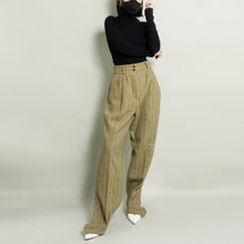 Load image into Gallery viewer, VINTAGE HERRINGBONE SPLIT HEM TAILORED DRESS PANT | BROWN/BEIGE | US 6