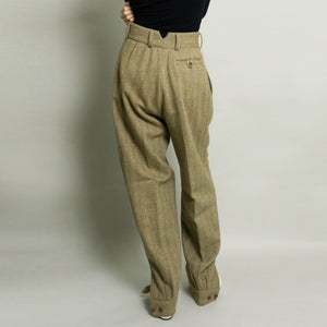 VINTAGE HERRINGBONE SPLIT HEM TAILORED DRESS PANT | BROWN/BEIGE | US 6