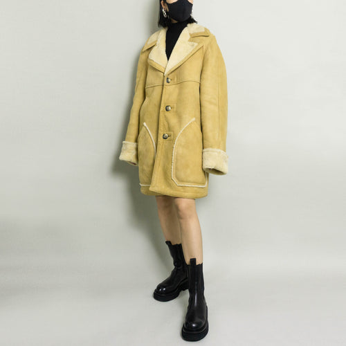 VINTAGE GENUINE SHEEPSKIN & SHEARLING COAT | TAN | S/M/L