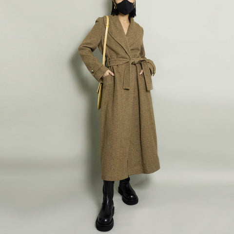 VINTAGE MINI HOUNDSTOOTH BELTED ROBE COAT | BROWN/BEIGE | XS/S