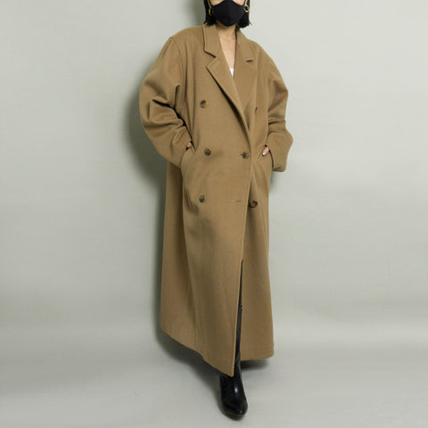 VINTAGE CALVIN KLEIN OVERSIZED DOUBLE BREASTED WOOL OVERCOAT |  CAMEL | S-XL