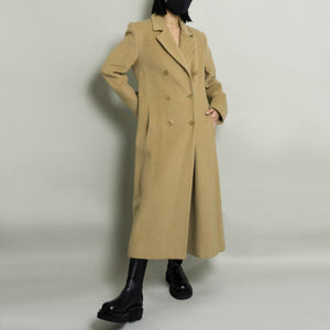 VINTAGE WOOL DOUBLE BREASTED OVERCOAT | CAMEL | S/M PETITE