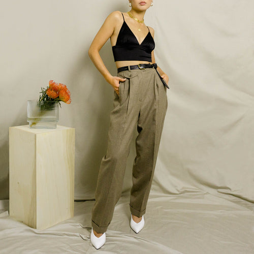 1990's LAUREN RALPH LAUREN PLEATED, HIGH-WAISTED DRESS PANT | BROWN HEATHER | US 4 PETITE
