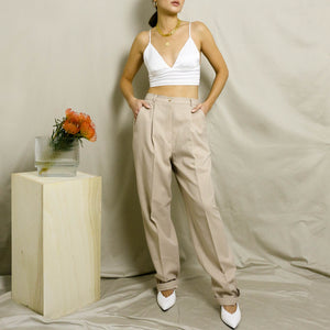 VINTAGE HIGH-WAISTED PLEATED DRESS PANTS | OATMEAL HEATHER | US 4-12