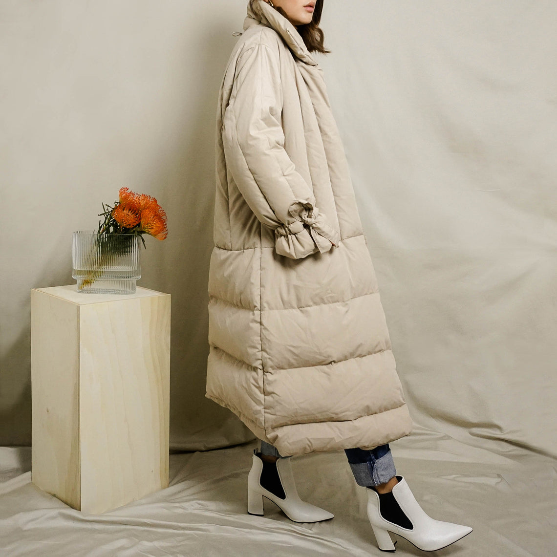 1980's VALENTINO RAIN QUILTED LONG PUFFER COAT | LT BEIGE | S