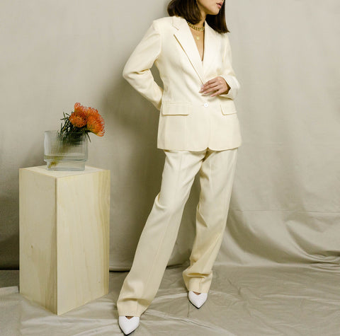 1990's WOOL PANT SUIT | CREAM | 29W
