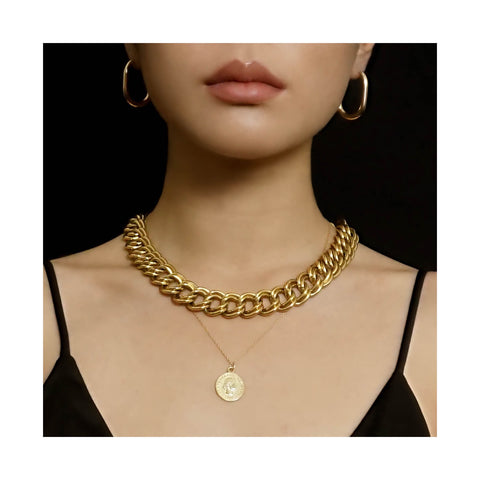 VINTAGE GOLD -PLATED DOUBLE CURB LINK CHOKER NECKLACE