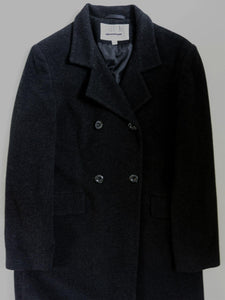 1980's BILL BLASS LONG LAMB'S WOOL & CASHMERE COAT | DK CHARCOAL GRAY | S / M / L - TALL