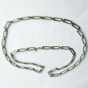 VINTAGE SILVER-TONE CHAIN LINK LAYERING NECKLACE