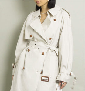 VINTAGE OVERSIZED TRENCH COAT WITH WINTER LINER | BONE WHITE | S/M/L