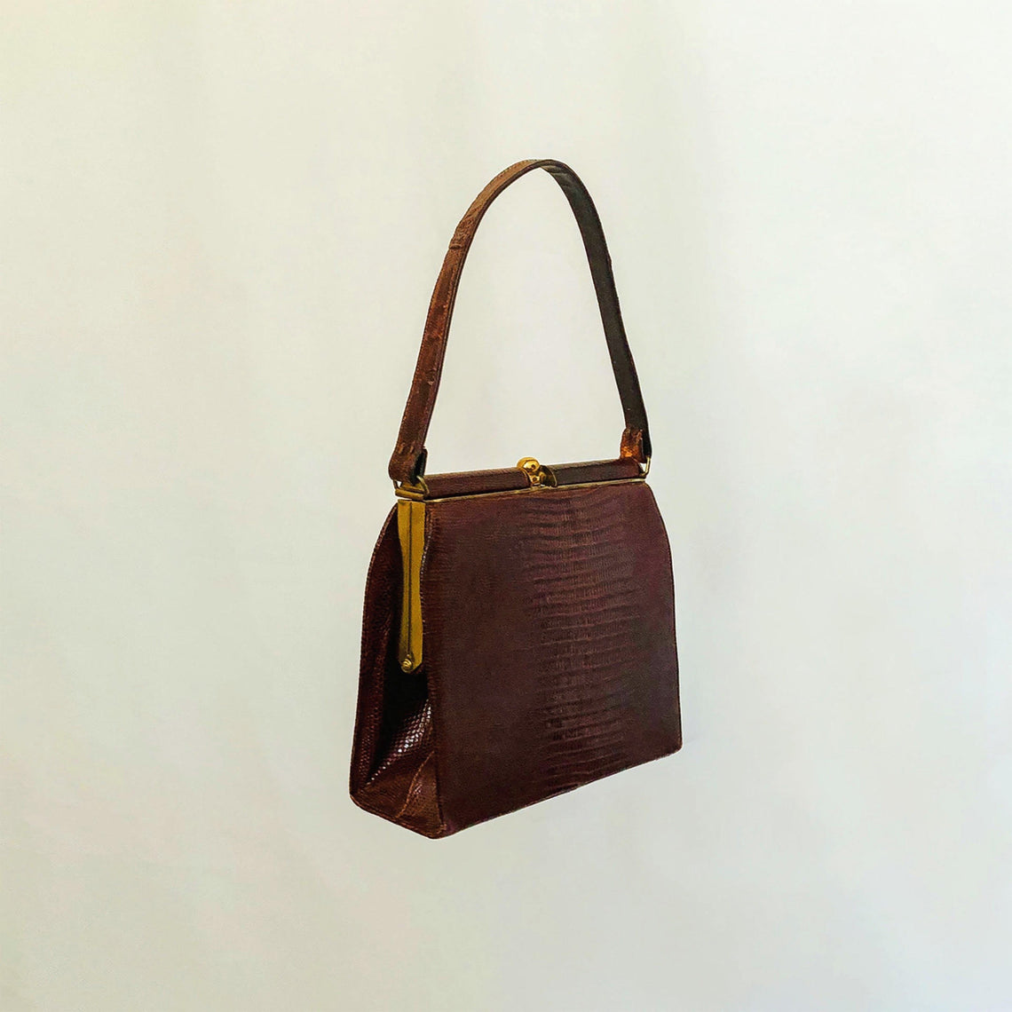 VINTAGE GOLD-FRAMED, GENUINE LIZARD LEATHER BAG | BROWN