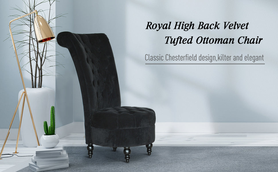 homcom-retro-high-back-armless-chair Living-room-furniture-upholstered-tufted-royal-accent-seat
