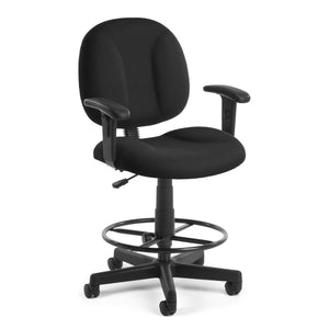 OFM Core Collection Comfort Series Office Chair with Arms and Drafting Kit, in Black (105-AA-DK-805)