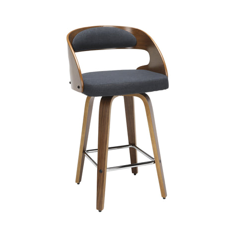 Wood and Navy Fabric Swivel Counter Stool