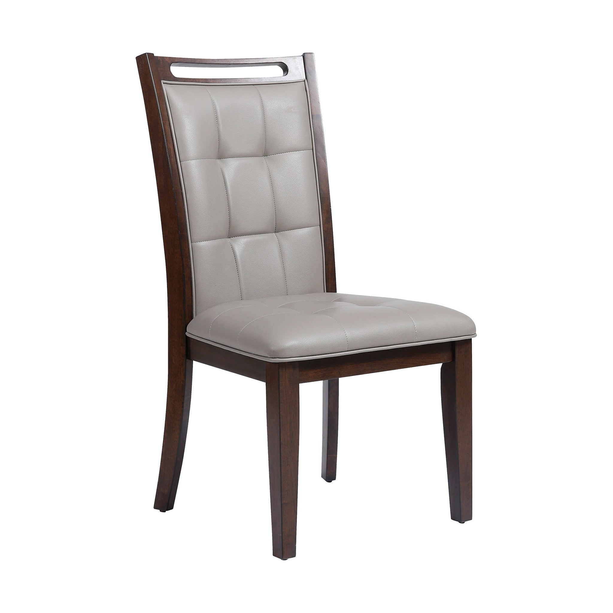 Lyman Grey Faux Leather Fabric. Rubber Wood in Arabica Finish Dining Chair